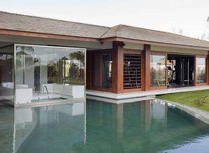 porta de vidro para sauna
